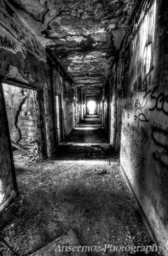 Black and white corridor art photography