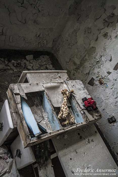 Ste Clotilde Asylum, abandoned room with dirty toys