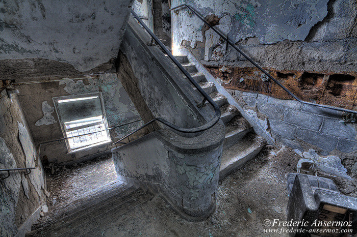 Dilapidated stairs in abandoned building, Quebec