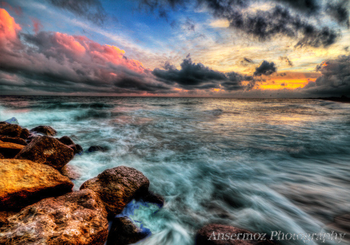 Hdr seascape long exposure at sunset