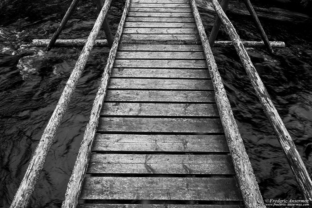Wooden bridge in Hossa National Park, Finland