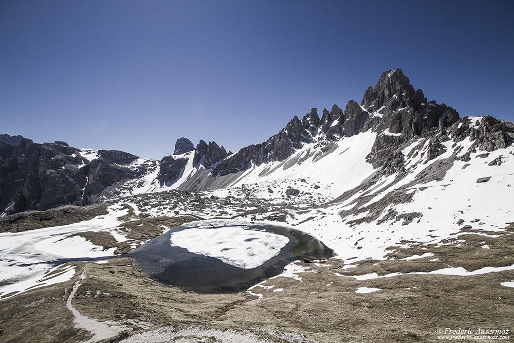 Neige et glace sur un lac de montagne, Alpes, Italie