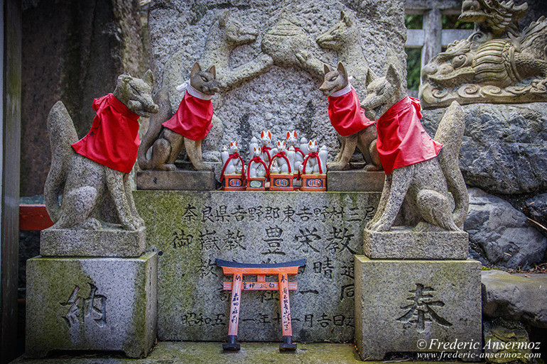 Kitsune with red yodarekake (votive bibs)