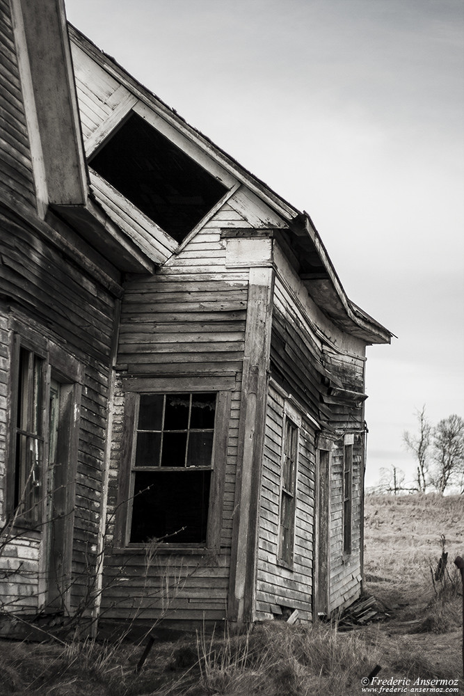 Abandoned wooden house frontage