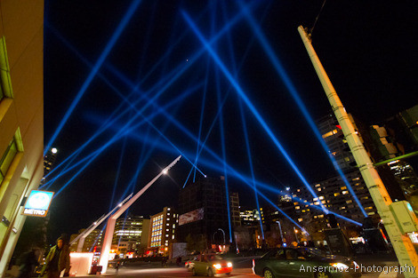 Light show in Place des Arts in Montreal