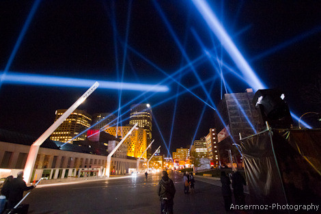 Place des Arts by night in Montreal with lazer beams