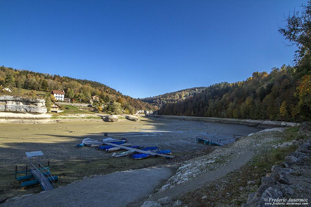 Lac des Brenets / Lac de Chaillexon à sec, sécheresse du Doubs 2018