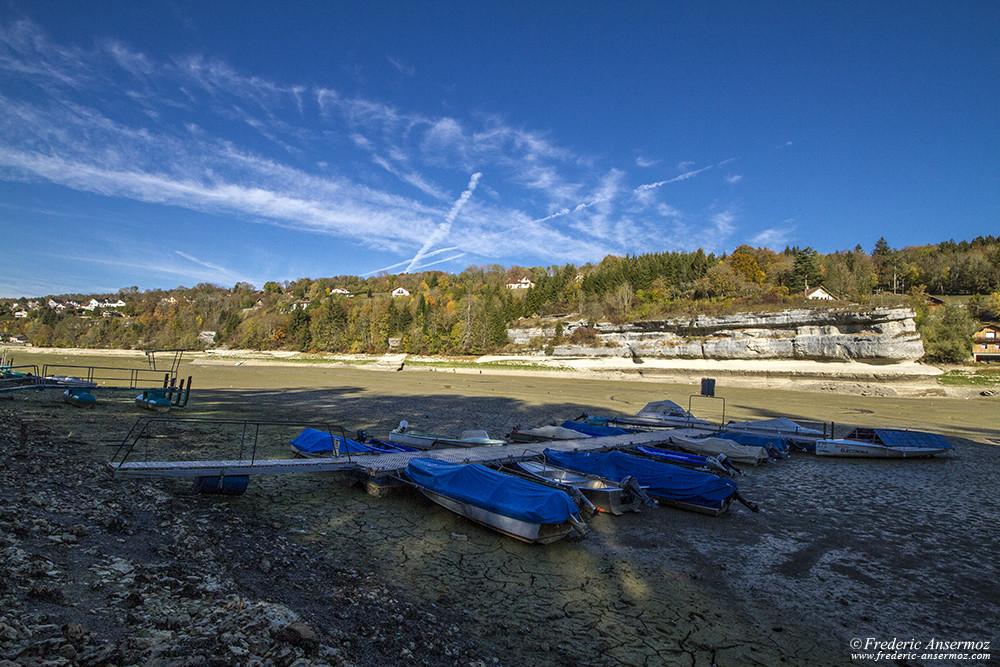 Bateaux à quai, lac des Brenets / Lac de Chaillexon