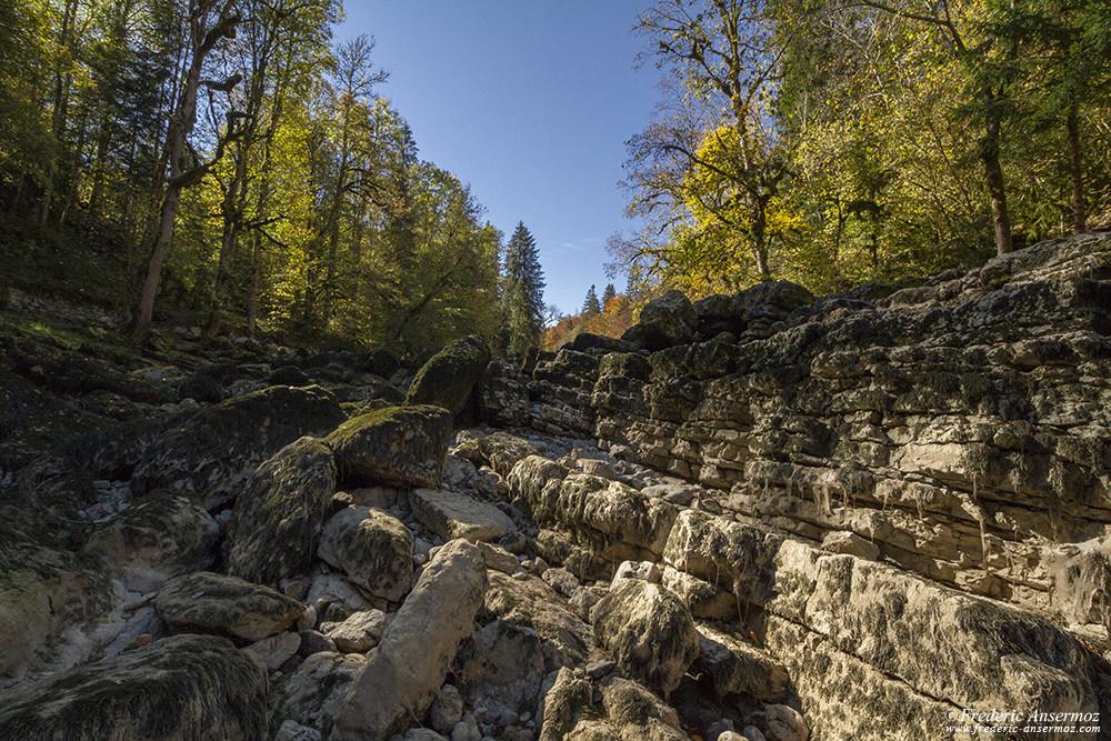 La rivière du Doubs à sec