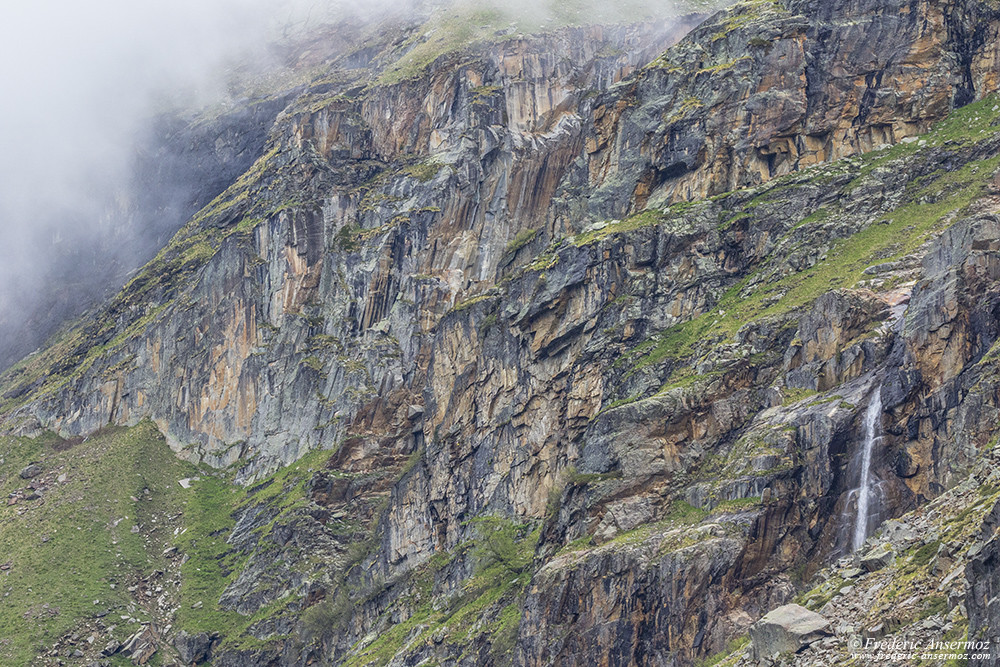 Waterfall and cliffs in Italy, Gran Paradisio National Park