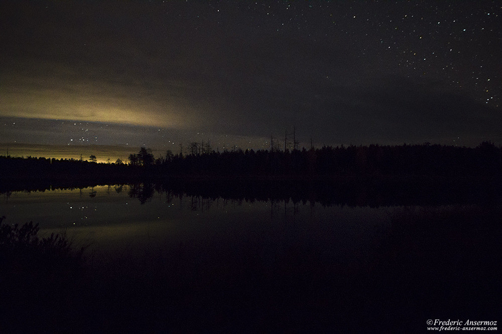 Night in Finland, starry sky reflection on water