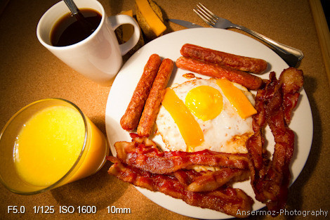 American breakfast with eggs, bacon, sausages