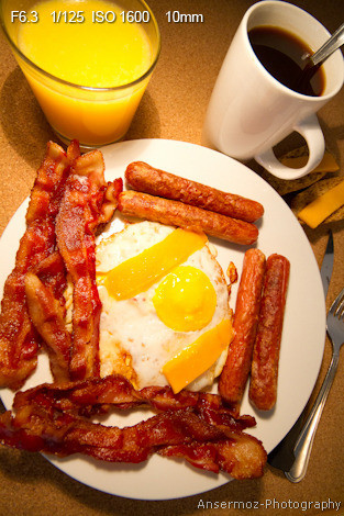 Breakfast sausages on plate with bacon and eggs