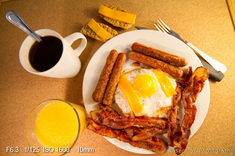Bacon and eggs with sausages at breakfast